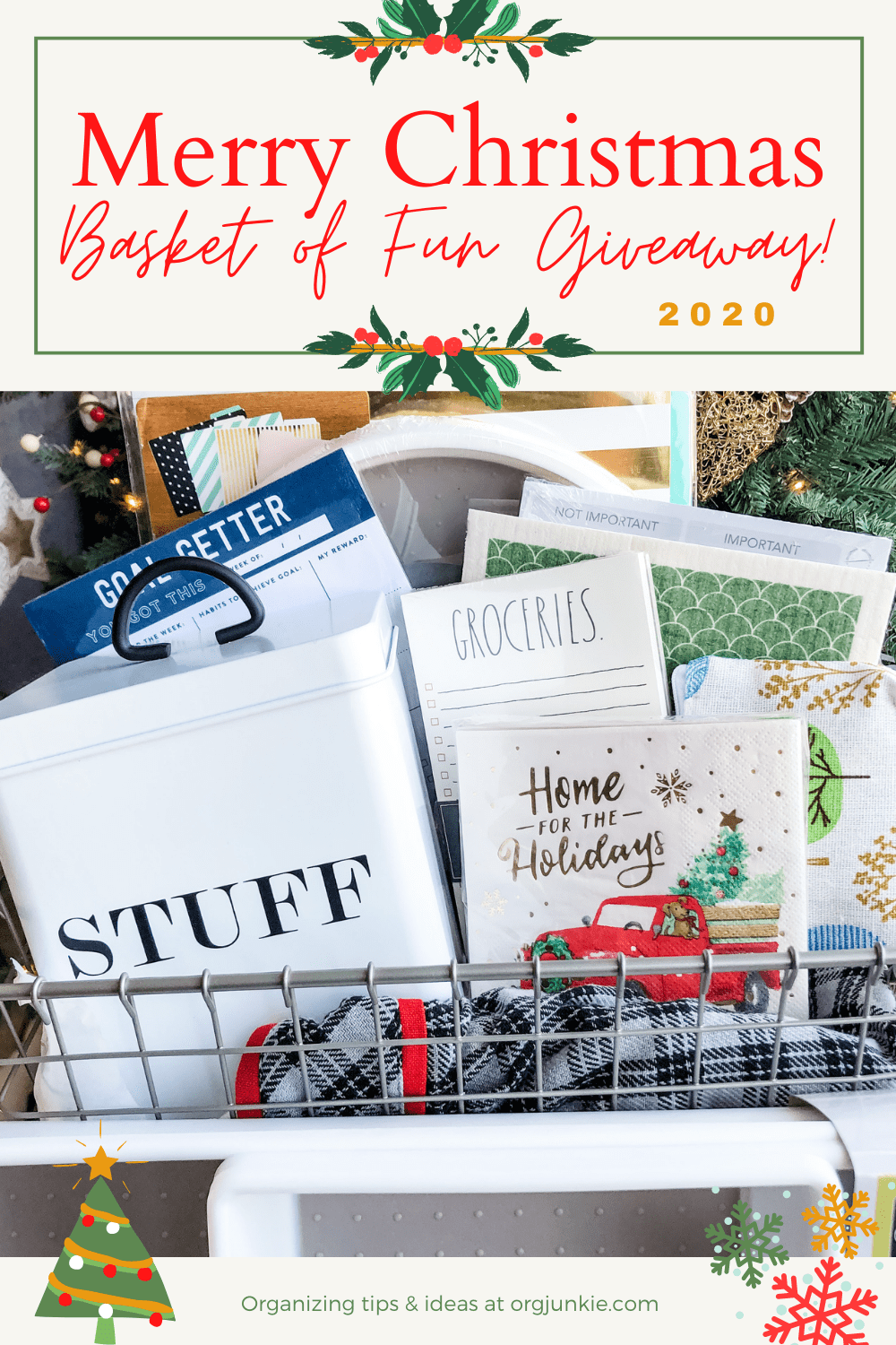 The 2020 Merry Christmas Basket of Fun Giveaway is Here! at I'm an Organizing Junkie blog