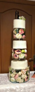 Трёхуровневая цилиндрическая подставка под торт из прозрачного оргстекла