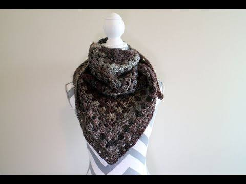 How to Crochet a Granny Triangle Shawl Left Handed