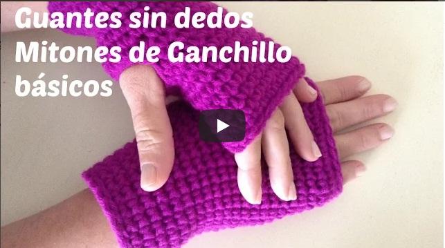 Guantes sin dedos o mitones de crochet paso a paso