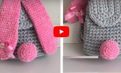 Penye ip ve kadife ipten tavşan kulaklı çocuk sırt çantası yapımı