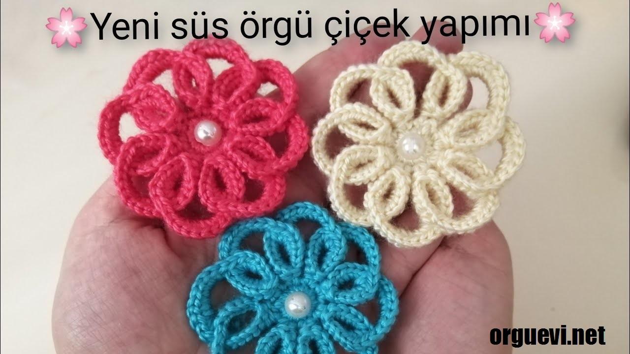 Yeni Örgü çiçek yapımı crochet flower patik süsleme çiçeği