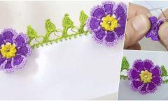 Tığ İşi Yapraklı Mor Menekşe Çiçeği Oya Modeli Yapılışı
