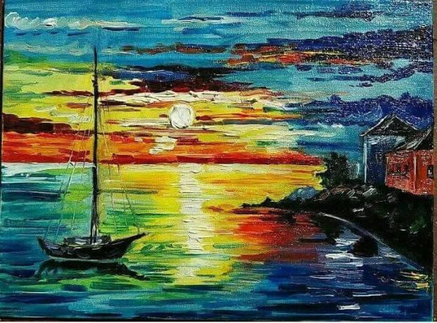 apus de soare pictura