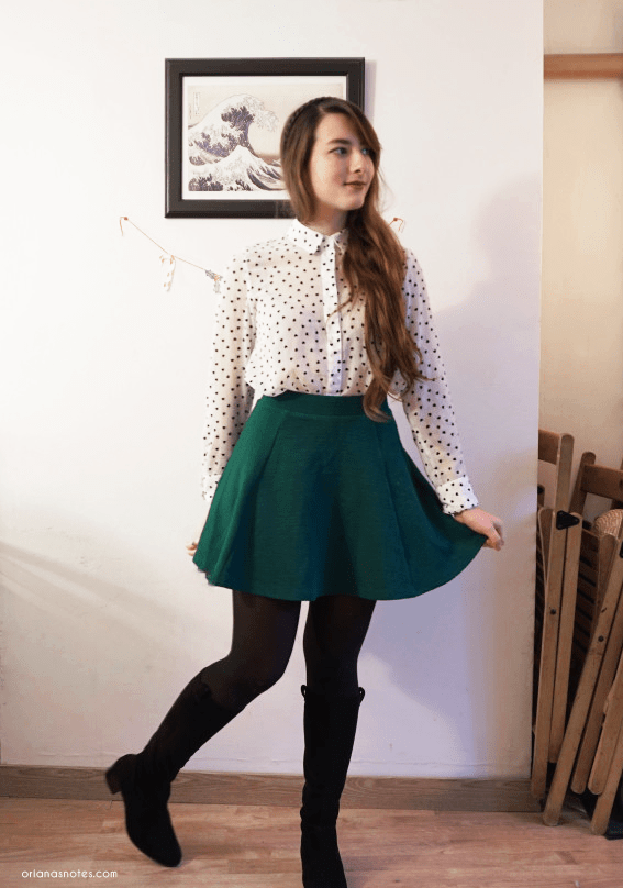 green skirt dotted shirt outfit