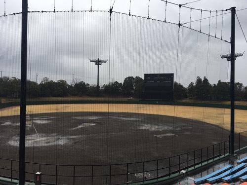 豊田市運動公園野球場、大会は雨天順延