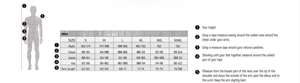 OLAND male size chart