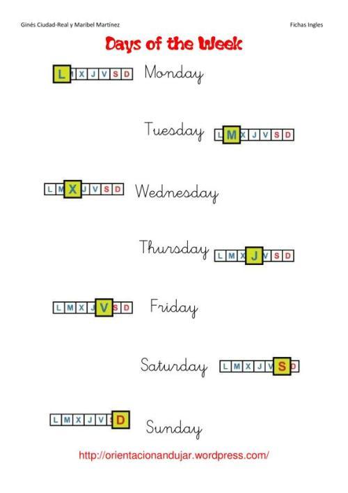days of de week sin tracucción