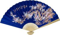 Asian Wall Fans :: Sakura Blossoms on Electric Blue