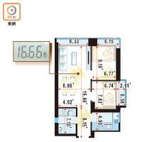 度尺盤:宇晴軒16呎直廳擺位容易 - 東方日報