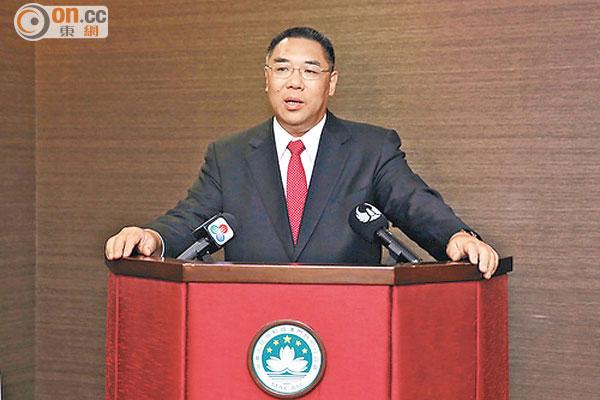 澳門消息:崔世安赴京出席特區成就展 - 東方日報