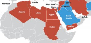 Red = US-backed destabilization, Blue = US occupying/stationed. China's oil and seaways are all covered.