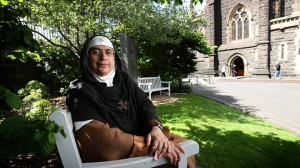 Mother Agnes-Mariam de la Croix, a Carmelite nun from the Monastery of St James the Mutilated in Syria, pictured at St Patrick's Cathedral in Melbourne, Australia. (Stuart McEvoy/The Australian)