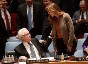 """The US Ambassador to the UN Samantha Power screaming at the Russian counterpart Vitaly Churkin after Russia has blocked the US draft resolution """"on situation in Ukraine"""" at the Security Council meeting on March 15, 2014."""