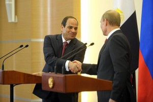 Vladimir Putin meeting with Egyptian leader Abdel Fattah al-Sisi in Sochi on August 12, 2014.
