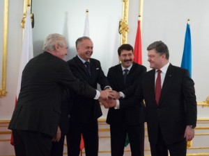 Petro Poroshenko with his colleagues from Slovakia, Czech republic and Hungary.