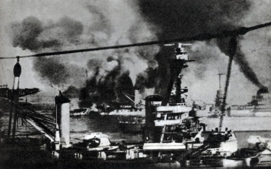 The French squadron under fire from the English fleet, Mers-el-Kébir, July 3, 1940.