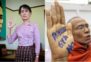 """Aung San Suu Kyi, (left) purveyor of Western """"pro-democracy"""" gags, now finds herself presiding over a movement using these gimmicks to call for racial genocide. A """"monk"""" (right) puts his US State Department subsidized color revolution training to a new use... calling for genocide. So far, Suu Kyi has categorically failed to condemn the violence mainly because it is being carried out by the backbone of her own political network. Source: Land Destroyer"""