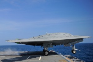 A remotely piloted aircraft system (drone) getting launched from the aircraft carrier George H.W.
