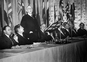 Lord Keynes addressing the Bretton Woods Conference.