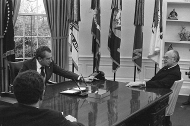Pres. Nixon hosting Amb. Dobrynin in the Oval office, Oct 1969. National Security advisor Henry Kissinger is present at the meeting.