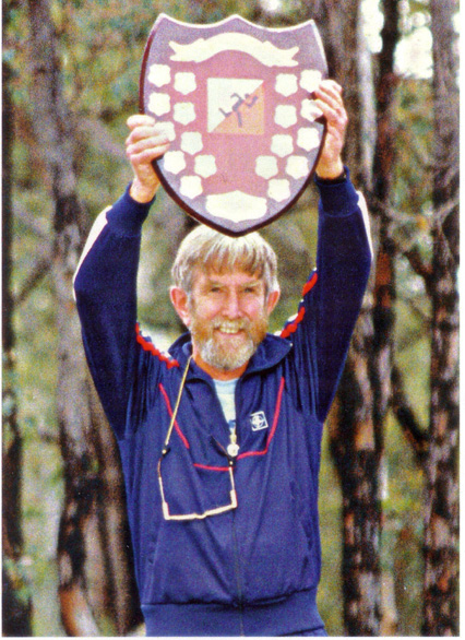 Roy Hiller celebrates with the OFA Shield in 1988