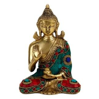 Buddha Mudra der Lehre mit Mosaikdekoration 16cm