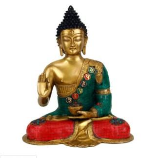 Buddha Mudra der Lehre mit Mosaikdekoration