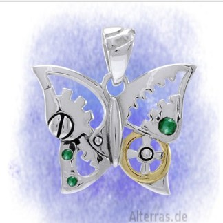 Anhänger Schmetterling mit grünen Kristallen aus 925-Silber