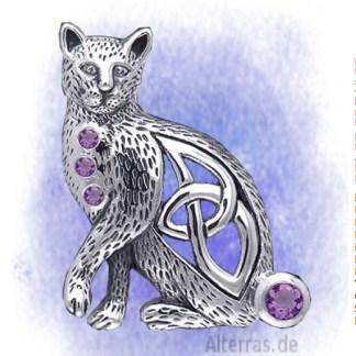 Katze mit Edelstein Amethyst aus 925-Silber