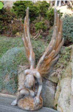 Engel Athene Rostoptik2 - Engel Athene Rostoptik aus Steinguss