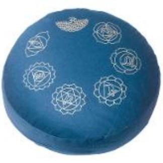 Meditationskissen mit Inlet 7Chakren blau