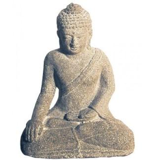 Buddha in Meditation Sandstein grau 10x15cm