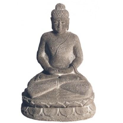 Buddha in Meditation Sandstein grau 15x24cm