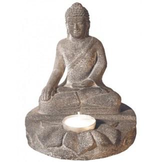 Buddha mit Teelicht Sandstein grau 14x16cm