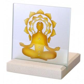 Teelicht Chakra Buddha Glas Stein graviert 10x13cm