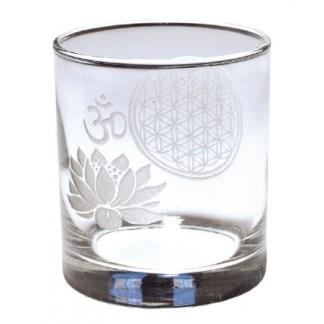 Teelicht Glas Blume des Lebens und Om Lotus 7x8cm