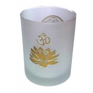 Teelicht Glas Blume des Lebens und Om Lotus frozen gold 7x8cm