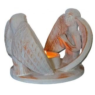 Teelichthalter 2 Engel Terracotta 13x13cm