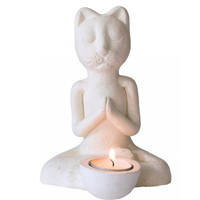 Teelichthalter Katze meditierend Resin