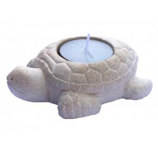 Teelichthalter Schildkröte Resin weiss