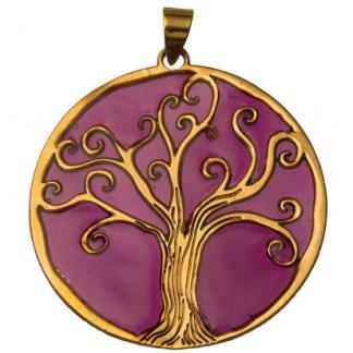 Anhänger Baum des Lebens Bronze violett 45mm