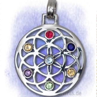 Anhänger Blume des Lebens mit Feuerkristallen aus 925-Silber