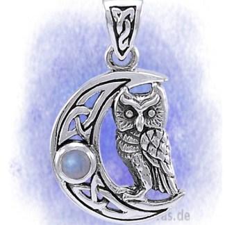 Anhänger Halbmond mit Eule aus 925-Silber