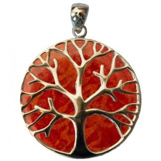 Anhänger Rote Koralle Lebensbaum 35mm
