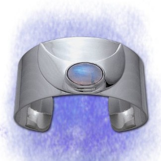 Armband Halbmond breit mit Mondstein aus 925-Silber