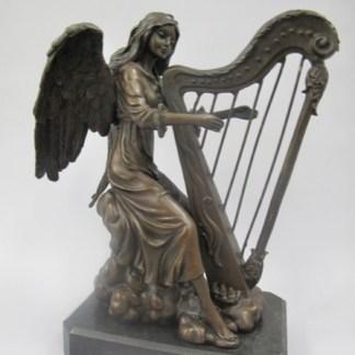 """Bronze Figur Engel mit Harfe - Bronze Figur """"Engel mit Harfe"""" 24x19cm"""