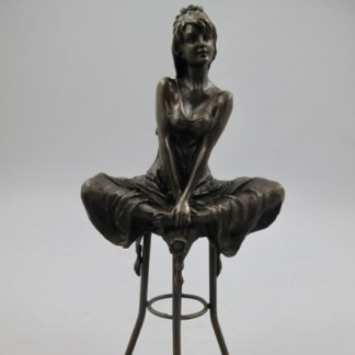"Bronze Figur Lady auf Stuhl 2 - Bronze Figur ""Lady - auf Stuhl (2)"" 27cm"