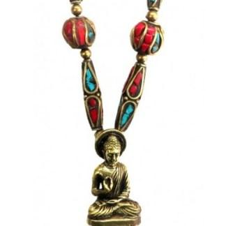 Halskette Buddha Messing und Nepalperlen