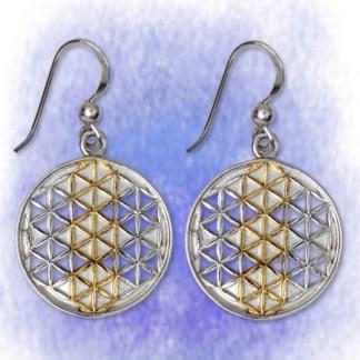 Ohrringe Blume des Lebens aus 925-Silber vergoldet
